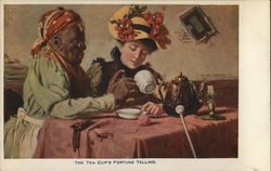 Older Black Woman Seated with Lady Scrutinizing Tea Cup