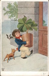 Leprechaun Carrying Potted Shamrocks as Dog Tugs His Kerchief