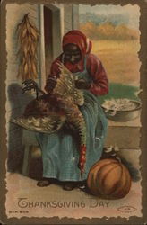 Black Woman with Pumpkin Near Foot Plucking Turkey