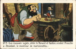 Walt Disney's Pinocchio and Stromboli in his workshop.