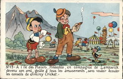 Pinocchio Near Man Smoking Cigar, Circus in Background