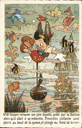 Pinocchio Underwater with Fish and Coral