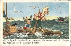 Pinocchio and Gepetto on Raft with Whale Nearby