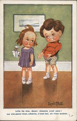 Boy Talking to Girl Holding Handkerchief