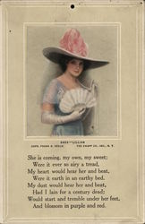 Lillian - Woman in Hat Holding Fan in Gloved Hand