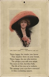 Woman in Large Pink Hat and Pink Roses at Bosom