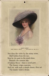 Woman in Large Hat With Bunch of Violets at Bosom