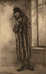 Woman Wearing Hat and Full-Length Fur Coat