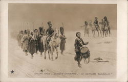 Drummer Marching in Front of Troops, Leader on Horseback