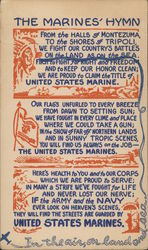 "Words to the ""Marines' Hymn,"" Flag, Soldiers, Plane Artwork"