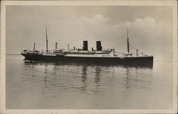 Long Ship with Two Smokestacks in Water