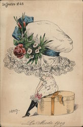 Tiny Female Seated on Hatbox Wearing Oversized Hat