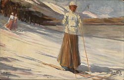 Woman in Long Skirt on Snowy Ski Slope