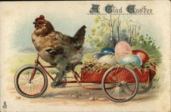 A Glad Easter - Hen riding Bycyle hauling Colored Eggs