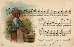 Sad Looking Black Lady Using Washtub - Musical Notes, Words