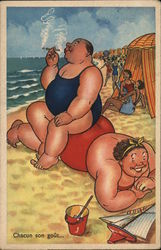 Large Person, Smoking, Sitting Atop Another Large Person at Beach