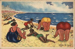 Women of Varying Sizes on Beach Near Water