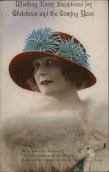 Woman in Red Hat with Fur Around Shoulders
