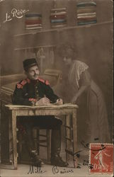 Soldier Writing at Desk, Transparent Image of Woman Near Him