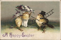 A Happy Easter with Two Chicks carrying Eggs