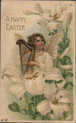 A Happy Easter - Angel holding a Harp among the Lilies