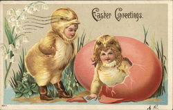 Children in Chick Suits, One Emerging from Egg, One Standing