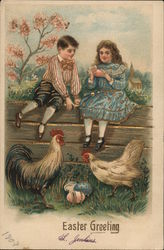 Boy and Girl Sitting on Fence with Chickens, Colored Eggs