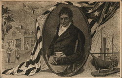 Robert Fulton in Oval Frame, Ship and Building