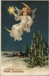 Wishing You A Merry Christmas - Angel and Christmas Tree