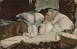 """Mark Twain's Muse,"" He is Laying in Bed, Smoking"