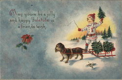 Yuletide Greeting with Child & a Dog pulling a Sled