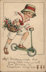 Child on Scooter with Basket of Flowers
