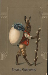 Bunny Carrying Flowers in Eggshell on its Back