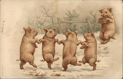 Five Pigs - Four Dancing, One Playing Pan Flute