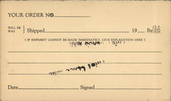 Order Card from the American Foundry Equipment Co.