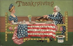 Thanksgiving for Peace and Plenty of Prosperity Uncle Sam Lady Liberty