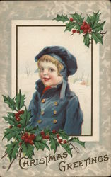 Christmas Greetings - A Young Boy in Blue with Holly Accents
