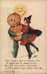 Witch in Red Dress Dancing with Pumpkin Head Character