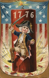Youthful George Washington Raising Sword Near Firecrackers