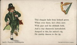 Irish Lad Dressed in Green Dancing, Harp with Female Body