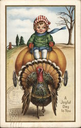 A Joyful Day to You - Child Riding a Pumpkin pulled by a Turkey