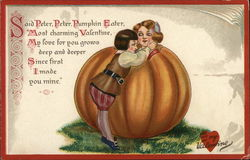 Young Man Hugging Young Woman in Large Pumpkin
