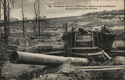 Large Cannon Sticking out of Ground with Desolate Countryside