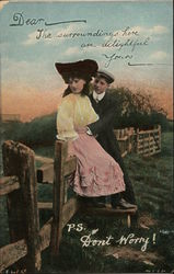 Man with Hands Around Waist of Woman Seated on Fence