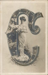 Woman Standing inside letter C