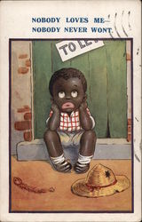 Black Child Sitting on Doorstep Looking Forlorn