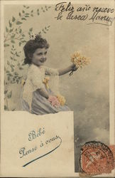Young Girl Offering Bouquet of Yellow Flowers