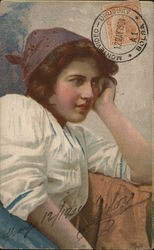 Woman in Kerchief Resting Head on Her Hand