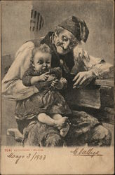 Elderly Man Holding Baby Playing with Pipe