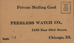 Correspondence Card from Peerless Watch Co.